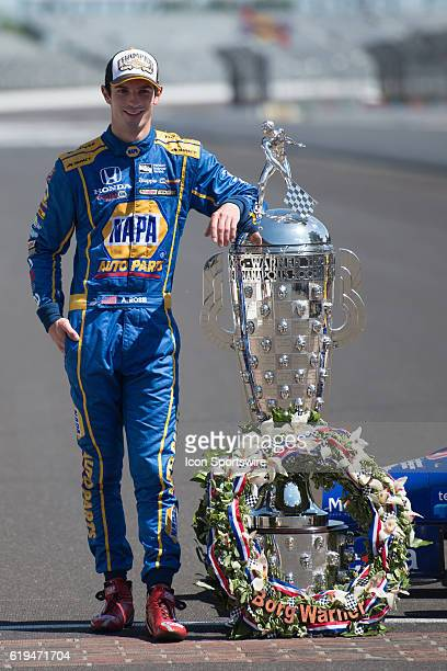 Race winner Alexander Rossi with the BorgWarner Trophy at the Day After Photo Shoot for the 100th running of the Indianapolis 500 at the Indianapolis...