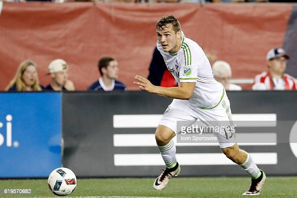 Seattle Sounders FC forward Jordan Morris takes a look at goal The New England Revolution defeated the Seattle Sounders FC 21 in a regular season MLS...