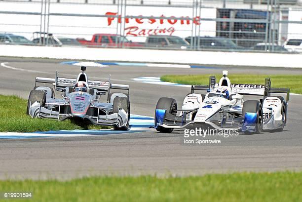 13 May 2016 | The Verizon Team Penske Chevrolet of Juan Pablo Montoya gets off course as the Preferred Freezer Fuzzy Vodka Chevrolet of JR Hildebrand...