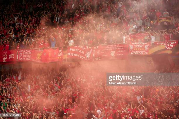 18 May 2016 UEFA Europa League Final Liverpool v Sevilla Liverpool fans engulfed in smoke from a red card flare