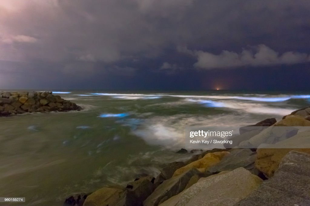 May 2018 Bioluminescent Red Tide in San Diego County : Stock Photo