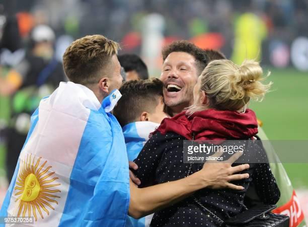 Football Europa League Final Atletico Madrid vs Olympique Marseille at the Groupama StadiumMadrid coach Diego Simeone celebrates with the family...