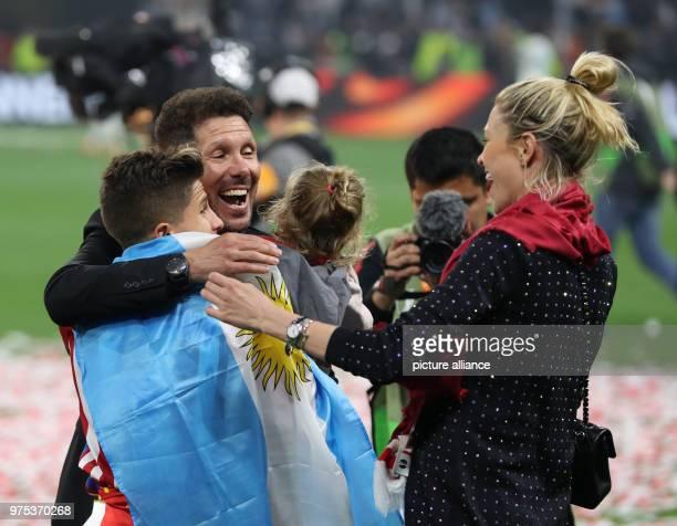 Football Europa League Final Atletico Madrid vs Olympique Marseille at the Groupama Stadium MAdrid coach Diego Simeone celebrates with the family...