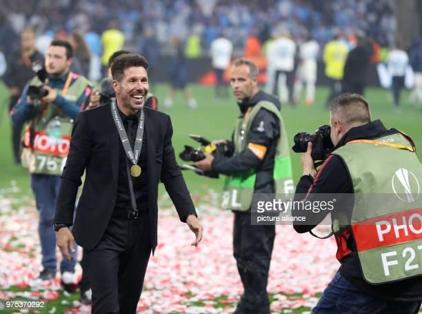 Football Europa League Final Atletico Madrid vs Olympique Marseille at the Groupama Stadium Madrid coach Diego Simeone celebrates after the match...