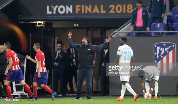 Soccer Europa League final Atletico Madrid vs Olympique Marseille in the Groupama stadium Atletico Madrid's assistant coach German Burgos giving...