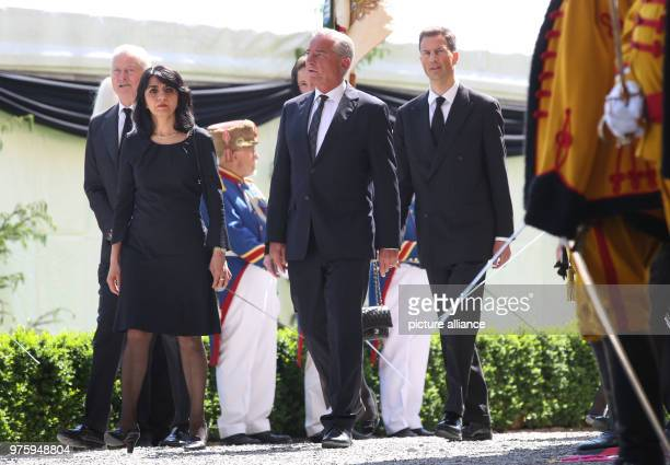 Muhterem Aras president of the BadenWuerttemberg Landtag state parliament and Thomas Strobl deputy premier of Baden Wuerttemberg on their way to the...