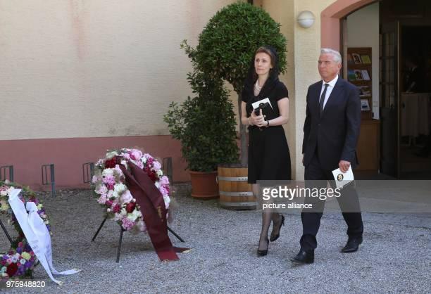 Princess Sibilla of Luxembourg and Thomas Strobel deputy premier of BadenWuerttemberg leave the church Photo Thomas Warnack/dpa
