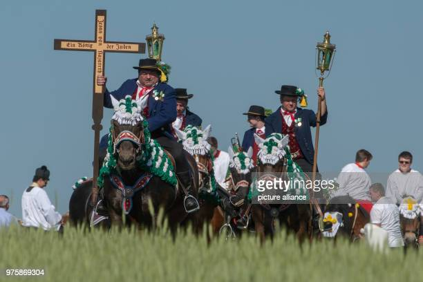 Participants of the Whit Monday procession ride their horses while carrying crosses and torches This event counting with almost 900 participants...