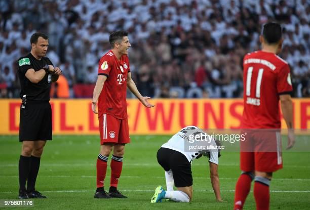 19 May 2018 Germany Berlin DFBPokal Finals FC Bayern Munich vs Eintracht Frankfurt at Olympiastadion Berlin Bayern Munich's Robert Lewandowski stands...