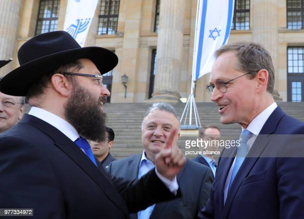 Rabi Yehuda Teichtal the Israeli ambassador inGermany Jeremy Issacharoff and Berlin's mayor from the Social Democratic Party taking part in the...