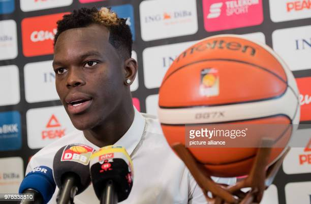 NBA star and German basketball national player Dennis Schroeder delivers a statement during a press conference Germany faces Austria in a World Cup...
