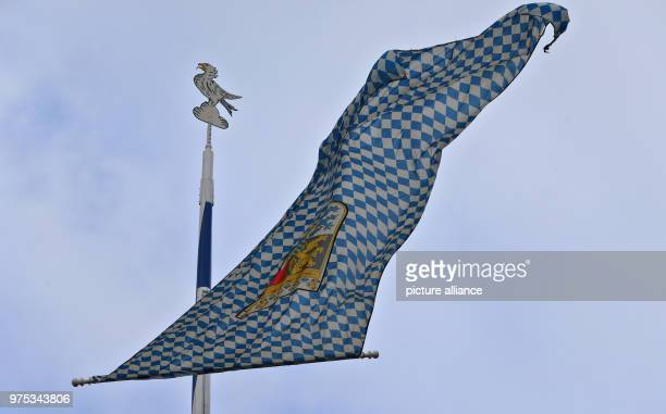 A large Bavarian flag attached to a maypole blowing in the strong wind Photo KarlJosef Hildenbrand/dpa