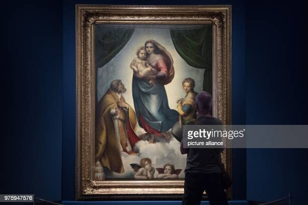 May 2018, Germany, Dresden: A man examines the oil painting 'The Sistine Madonna' by ANton Hille at the 'Museum of Untold Stories' at the Japanese...