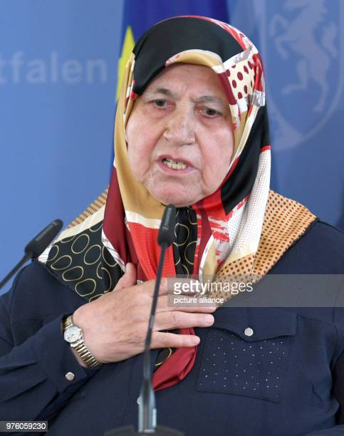 Mevlude Genc mother grandmother and aunt of victims speaking during a memorial service for the arson attack in Solingen 25 years after the racially...