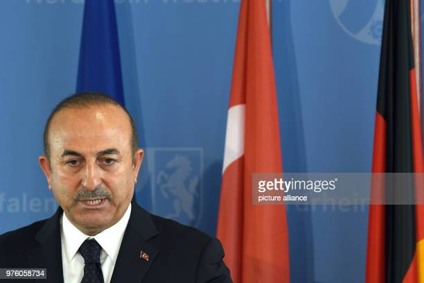 the Foreign Minister of Turkey Mevlut Cavusoglu speaking during a memorial service for the arson attack in Solingen 25 years after the racially...