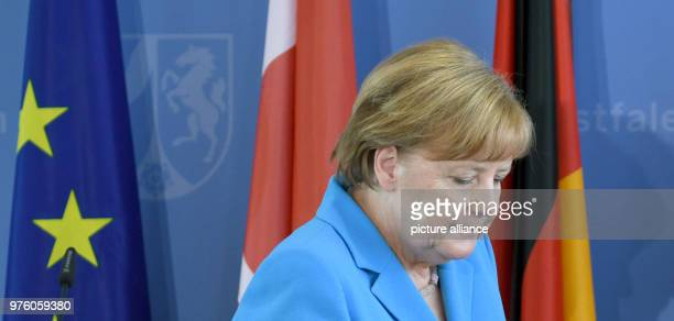 The German Chancellor Angela Merkel of the Christian Democratic Union speaking during a memorial service for the arson attack in Solingen 25 years...