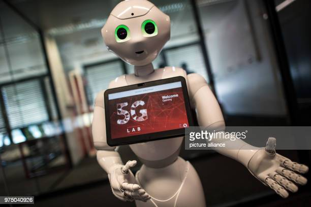 The robot Pepper greets guests for the opening of the Vodafone 5G Lab All devices capable of 5G are tested and certified for the Vodafone network at...