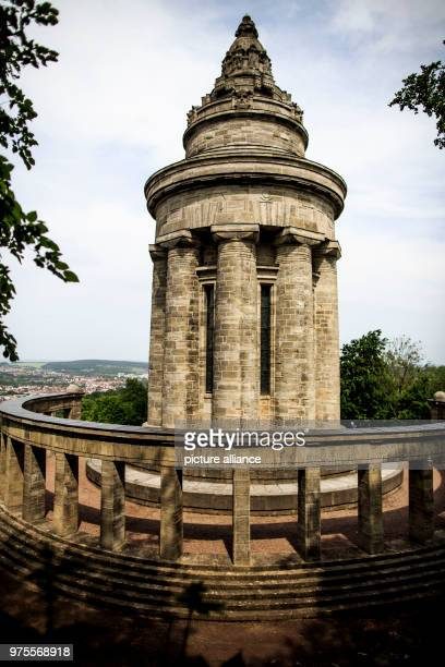 May 2018, Germany, Eisenach: The monument of the student's league stands high over the city of Eisenach in Thuringia. The monument on the...