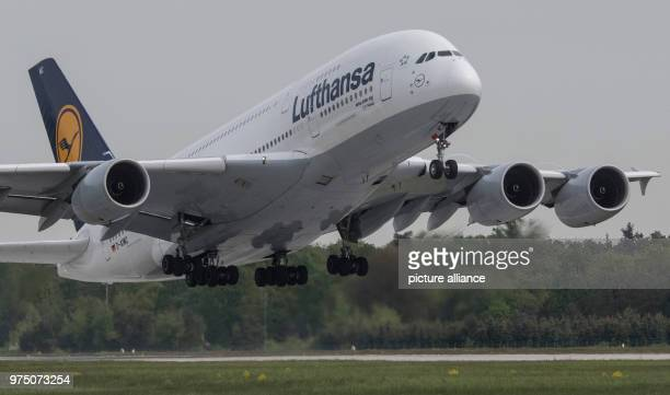 An Airbus A380 of Lufthansa starts on the western runway of Frankfurt am Main's airport Photo Boris Roessler/dpa