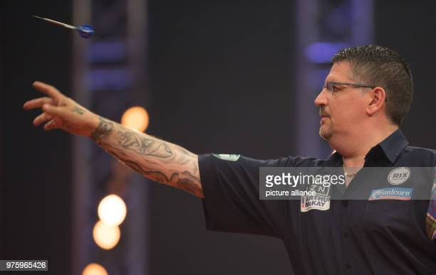 Scottish darts player Gary Anderson in action at the German Darts Masters 2018 of the PDC World Series Photo Friso Gentsch/dpa