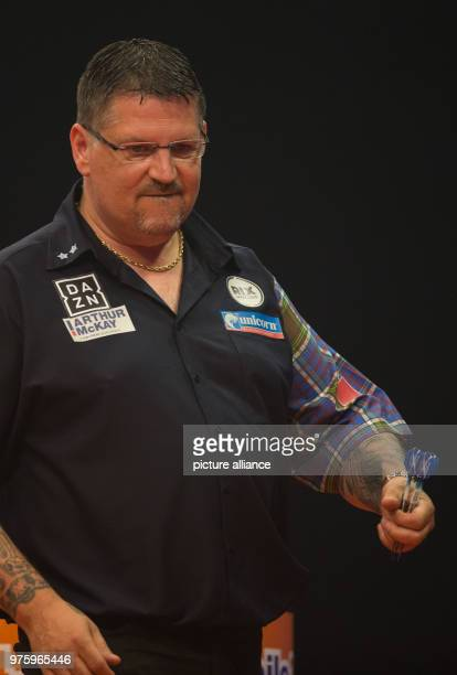 Scottish darts player Gary Anderson looks disappointed at the German Darts Masters 2018 of the PDC World Series Photo Friso Gentsch/dpa