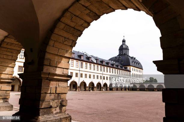 May 2018, Germany, Gotha: One side wing extends along one side of the complex of Friedenstein Palace. Friedenstein Palace is one of the best...