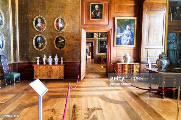 May 2018, Germany, Gotha: Pictures and vases adorn the ducal audfience chamber inside the North wing of Friedenstein Palace. Friedenstein Palace is...