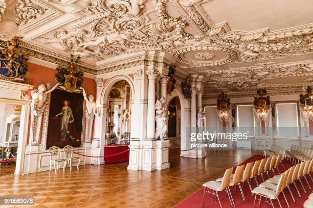 May 2018, Germany, Gotha: The ballroom inside Friedenstein Palace. Friedenstein Palace is one of the best preserved architectural monuments from...