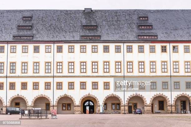 May 2018, Germany, Gotha: The central section of Friedenstein Palace. Friedenstein Palace is one of the best preserved architectural monuments from...
