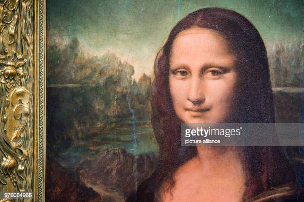 A copy produced by Eugen Semjon and Michael Posen of the painting Mona Lisa originally painted by Leonardo da Vinci displayed at the exhibition Echt...