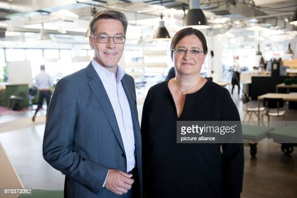 Alexander Birken CEO of the Otto Group and Petra ScharnerWolff Otto Group'sCFO standing together ahead of the trade and services company's annual...
