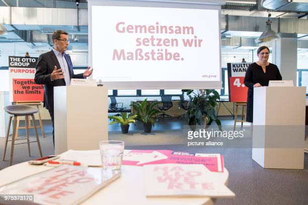 Alexander Birken CEO of the Otto Group and Petra ScharnerWolff Otto Group'sCFO speaking during the trade and services company's annual financial...