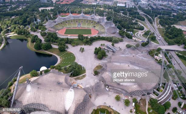 Picture of the Olympic Stadium in Munich with a track of colorful asphalt taken from the Olympic Tower Photo Sven Hoppe/dpa