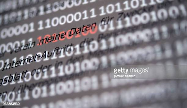 The section 'meine Daten' of a sample data protection declaration for associations is highlighted by red ones and zeros that appear on a screen...