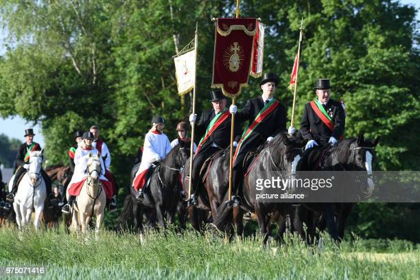 A group of participants in the traditional 'blood ride' came from ReichenbachSattenbeuren to celebrate Ascension Day in Europe's largest mounted...
