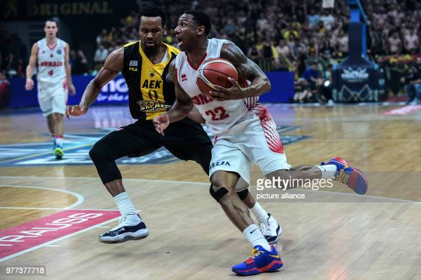 Basketball Champions League AS Monaco vs AEK Athens Final Monaco's Gerald Robinson in action against Athens' Kevin Punter Photo Angelos Tzortzinis/dpa