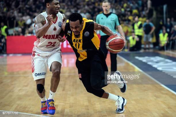 Basketball Champions League AS Monaco vs AEK Athens Final Athens' Kevin Punter in action against Monaco's Gerald Robinson Photo Angelos Tzortzinis/dpa