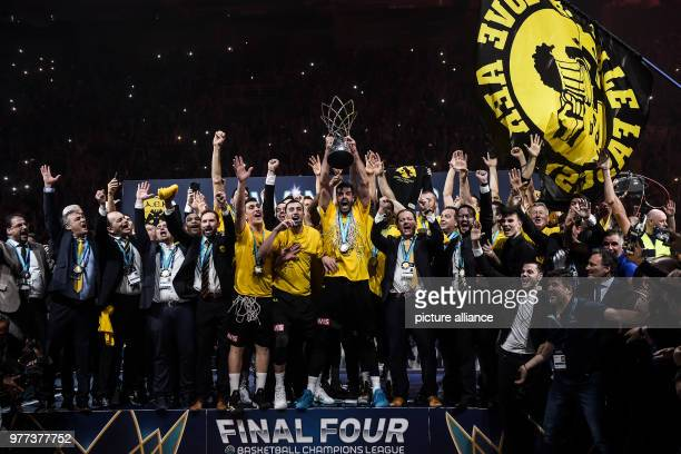 Basketball Champions League AS Monaco vs AEK Athens Final Athens' players celebrate their victory with the trophy after the match Photo Angelos...