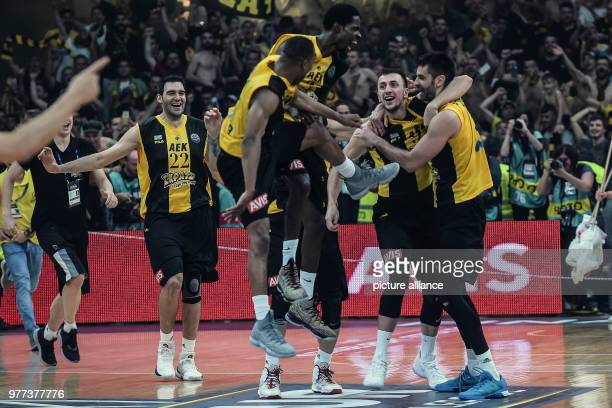 Basketball Champions League AS Monaco vs AEK Athens Final Athens' players celebrate their victory after the match Photo Angelos Tzortzinis/dpa