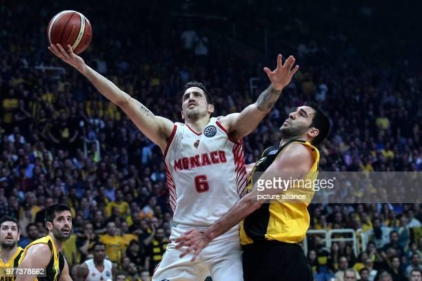 Basketball Champions League AS Monaco vs AEK Athens Final Monaco's Paul Lacomb in action Photo Angelos Tzortzinis/dpa