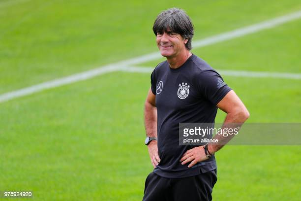 National head coach Joachim Loew following training at the training camp at the Rungg sport centre The German national team is preparing for the...