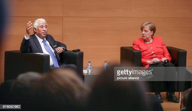 German Chancellor Angela Merkel and Portugese President António Costa speaking with students at the citizens dialogue for the future of Europe at the...