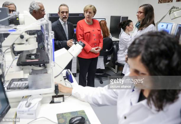 German Chancellor Angela Merkel Portugese President António Costa and Director of the Institute for Health Research Mario Barbosa visiting the...