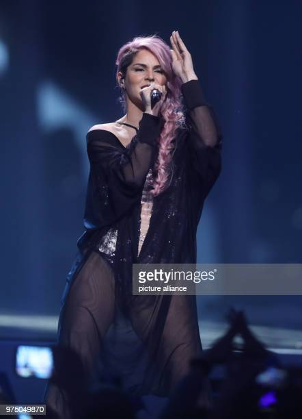 Slovenia's Lea Sirk standing on the stage during the second dress rehearsal of the second semi final at the Eurovision Song Contest The final takes...