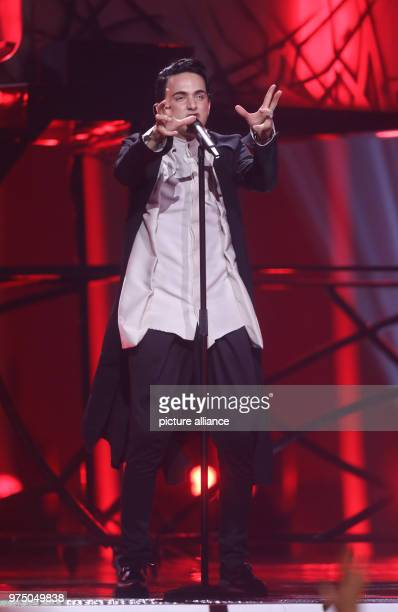 The Ukraine's Melovin standing on the stage during the second dress rehearsal of the second semi final at the Eurovision Song Contest The final takes...