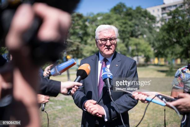 German President FrankWalter Steinmeier comments on the murder of the Russian journalist Arkady Babchenko in Kiev after a school visit German...