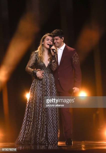 Spain's Amaia y Alfred practice their Eurovision Song Contest performance at the 1 dress rehearsal for the finals on 12 May Photo Jörg Carstensen/dpa
