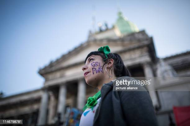 May 2019, Argentina, Buenos Aires: An advocate of abortion takes part in a demonstration for the legalization of abortions before Congress....