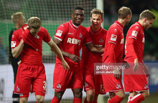 Soccer 2nd Bundesliga SpVgg Greuther Fürth 1st FC Cologne 32nd matchday at the Sportpark Ronhof Thomas Sommer Cologne's Jhon Cordoba cheers his goal...