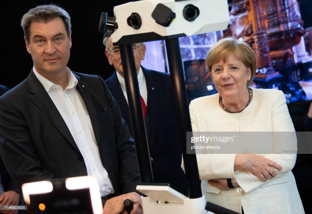 DEU: Merkel Visits Munich School Of Robotics And Machine Intelligence